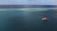 Aruba reef and lagoon with a boat Stock Footage