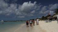 Aruba beach with tourists Stock Footage