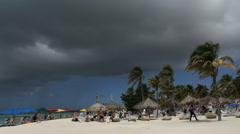 Aruba beach with dark cloud Stock Footage