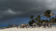 Stock Video Footage of Aruba beach with dark cloud