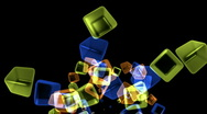 Abstract glass box background,flame firework particle,geometric explosion. Stock Footage