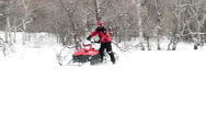 Stock Video Footage of Snowmobile hard turn slow P HD 8293
