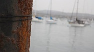 Close Up Rusted Boat Docking Pillar Moving Up and Down Stock Footage