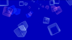 Ice block,flying glass boxes and rays light,tech web cubes matrix.particle,mate Stock Footage