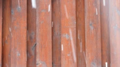 Snowing wood wall Stock Footage