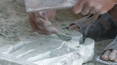 Cambodia: Chiseling Stone Sculpture Stock Footage