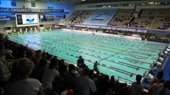 Open championship of russia's swimming in sports complex Olympiysky - stock footage