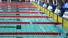 Sportswomen start to swim on open championship of swimming Stock Footage