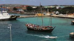 Bonaire A boat at Kralendiji Stock Footage