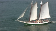 Sailboat Cutter Boston Stock Footage