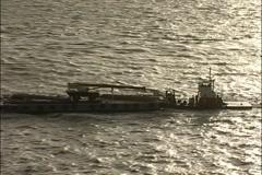 Barge & Tug Under SF Bay Bridge Stock Footage