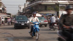 Cambodia: Morning Traffic Stock Footage