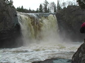 Stock Video Footage of Whitewater Kayaker Over 35'falls