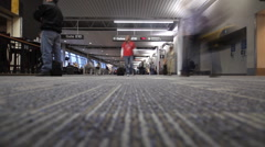 Timelapse of people as busy airport travellers. Stock Footage