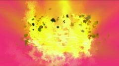 Goldmine Explosion and dazzling fire light,the birth of galaxy and smoke.partic Stock Footage