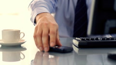 Businessman texting, sending sms during work Stock Footage
