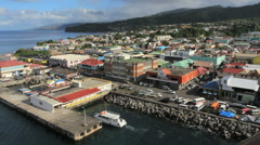 The Roseau waterfront in Dominica Stock Footage