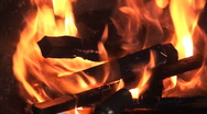 Stock Video Footage of wood burns in the fire