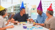 Senior friends celebrating a Birthday Stock Footage