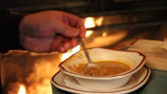 Man Eating Healthy Soup Stock Footage