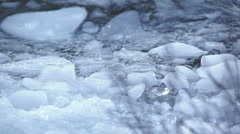 Ice chunks floating on winter lake 1 Stock Footage