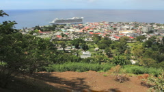 A ship at Roseau in Dominica Stock Footage