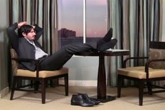 Businessman relaxes - NTSC - stock footage
