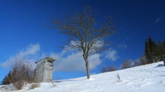 Time-lapse of white clouds passing by over winter landscape in Carpathians - stock footage