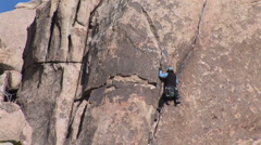 Female Rock Climber in Joshua Tree - stock footage