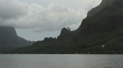 Mountains by Opunohu Bay in Moorea Stock Footage