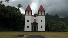 Catholic church at Haapiti in Moorea Stock Footage