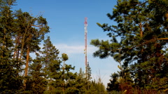 4 clips of communications tower in forest Stock Footage