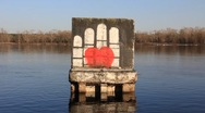 Graffiti on the water Stock Footage