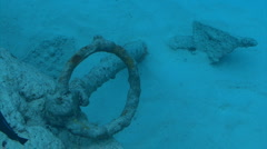 Ship anchor underwater Stock Footage