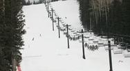 Ski Lift Skiers Stock Footage