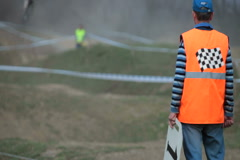 Assistant referee for motocross Stock Footage