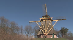 Old Dutch Windmill on hill Stock Footage