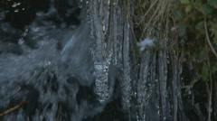 Icicles at Loch Muick, Scotland Stock Footage