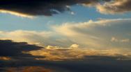 Cumulus clouds on evening sun Stock Footage
