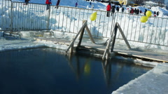 Ice-hole on a frosty lake Stock Footage