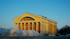 Theatre old building with columns, time lapse Stock Footage