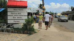Bora Bora Vaitape town tourists Stock Footage