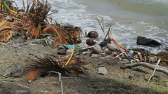 Trash by island shore 3 Stock Footage