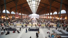 Passengers walk in Paris North Station Stock Footage
