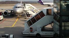 Bonn aiport plane departure Stock Footage