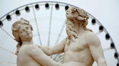 La Seine et la Marne, Sculpture de Nicolas Coustou Stock Footage