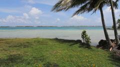 Bora Bora lagoon with motus in distance  Stock Footage