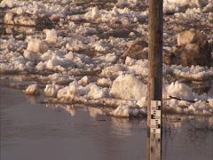 Flood water level meter  Stock Footage
