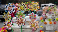 Pinwheels Toys in Hanoi's streets in a busy day, Vietnam Stock Footage