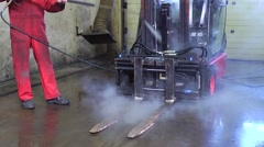 High pressure spray cleaning Stock Footage